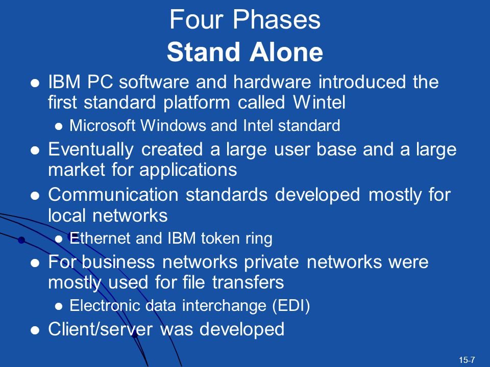 15-7 Four Phases Stand Alone IBM PC software and hardware introduced the first standard platform called Wintel Microsoft Windows and Intel standard Eventually created a large user base and a large market for applications Communication standards developed mostly for local networks Ethernet and IBM token ring For business networks private networks were mostly used for file transfers Electronic data interchange (EDI) Client/server was developed