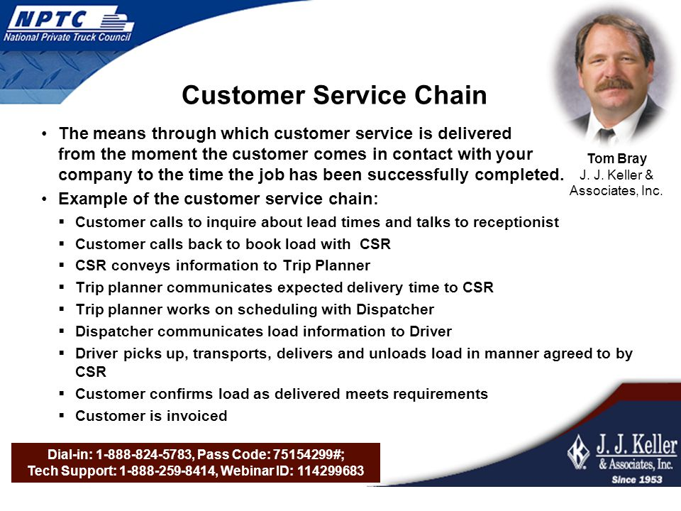 Dial-in: 1-888-824-5783, Pass Code: 75154299#; Tech Support: 1-888-259-8414, Webinar ID: 114299683 Customer Service Chain The means through which customer service is delivered from the moment the customer comes in contact with your company to the time the job has been successfully completed.