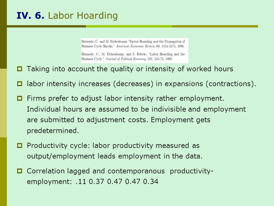 IV. 6. Labor Hoarding Taking into account the quality or intensity of worked hours labor intensity increases (decreases) in expansions (contractions).