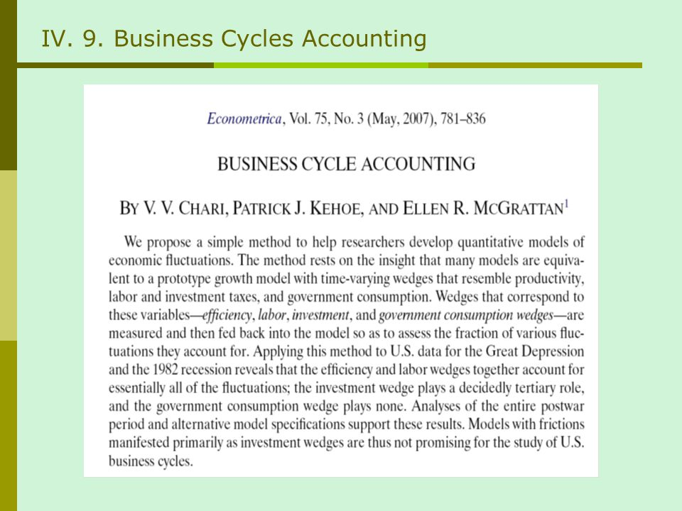 IV. 9. Business Cycles Accounting