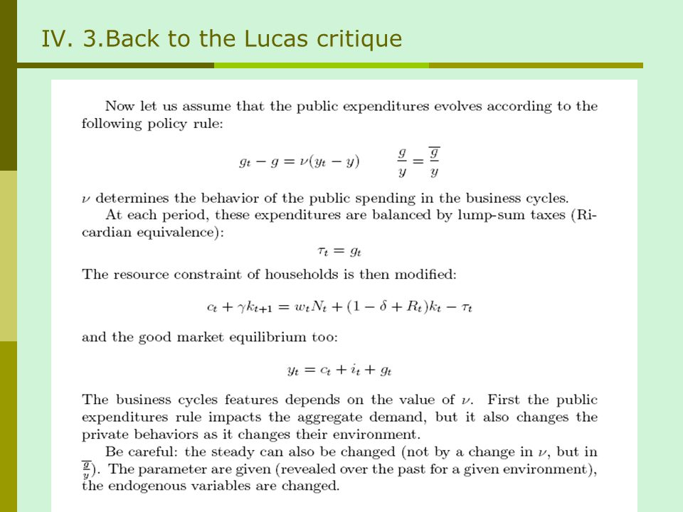 IV. 3.Back to the Lucas critique
