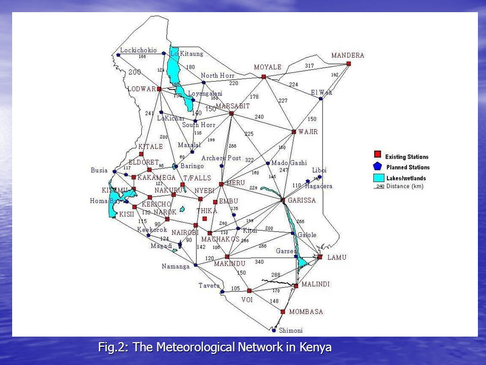 Fig.2: The Meteorological Network in Kenya