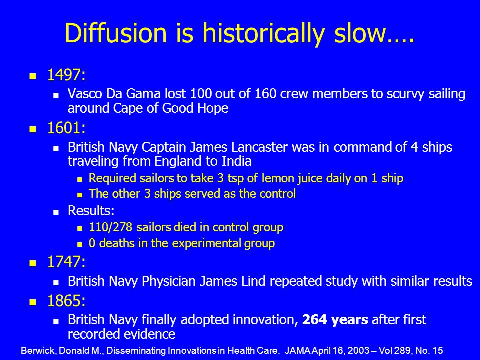 Diffusion is historically slow…. 1497: Vasco Da Gama lost 100 out of 160 crew members to scurvy sailing around Cape of Good Hope 1601: British Navy Ca