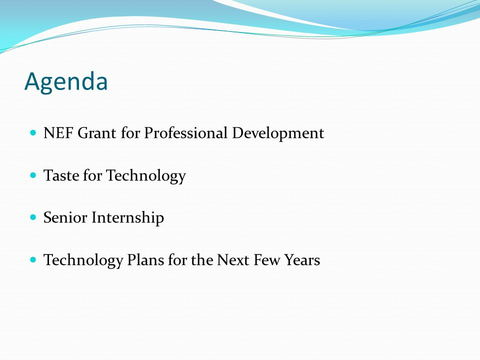 NEF Grant for Professional Development MarchAprilMayJune MS Word BasicsUsing your Mac Effectively MS Powerpoint Fundamentals IPhotoUsing BlogsIMovieIntro to Moodle & Blended Learning Using Excel – Data Driven Instruction MS Word Fundamentals Garage Band for Music Using GoogleUsingWikisIPhoto and IDVD MS Excel Basics Using Survey Monkey Garage Band Podcasting MS Powerpoint Fundamentals