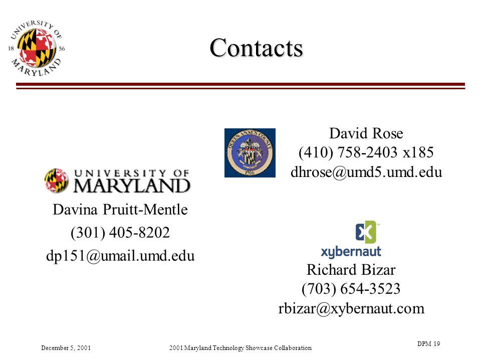 December 5, 20012001 Maryland Technology Showcase Collaboration DPM 19 Contacts Davina Pruitt-Mentle (301) 405-8202 dp151@umail.umd.edu David Rose (410) 758-2403 x185 dhrose@umd5.umd.edu Richard Bizar (703) 654-3523 rbizar@xybernaut.com