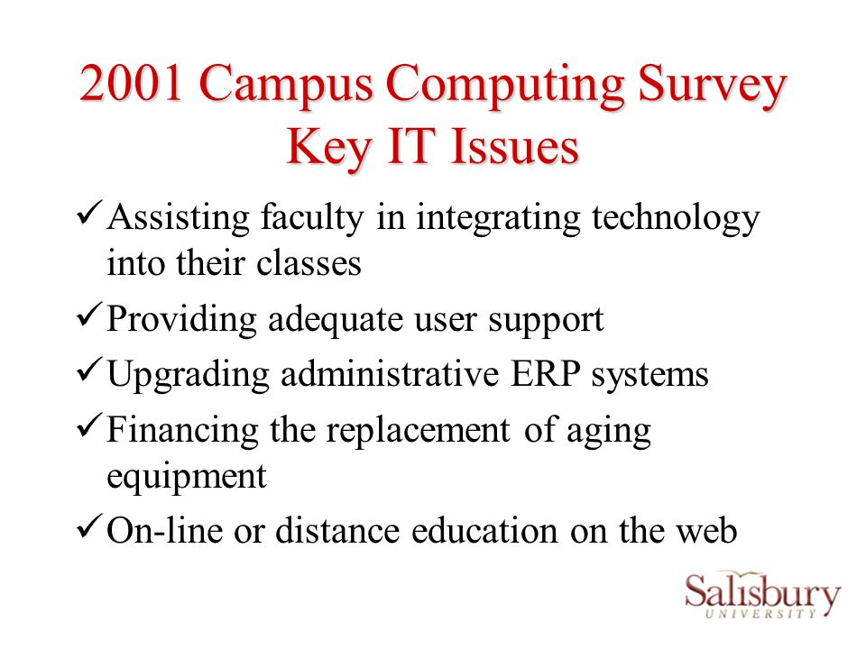 SU Technology Issues and Directions Campus Computer labs 7 university labs (5 instructional and 2 Open) 10 department labs Over 80% of our students own computers SU owns more computers than ever Students and faculty cant get access to computers for teaching and class work