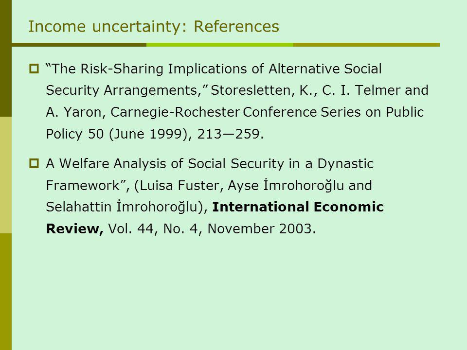 Income uncertainty: References The Risk-Sharing Implications of Alternative Social Security Arrangements, Storesletten, K., C.