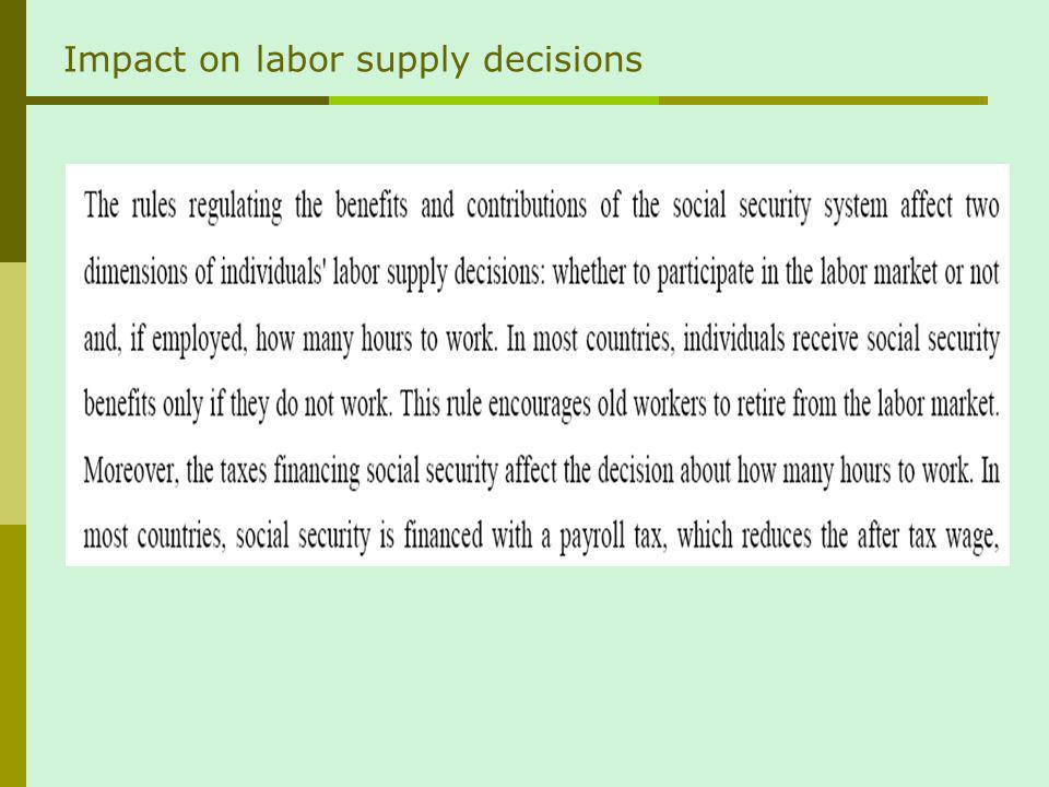 Impact on labor supply decisions