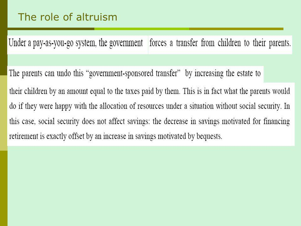 The role of altruism