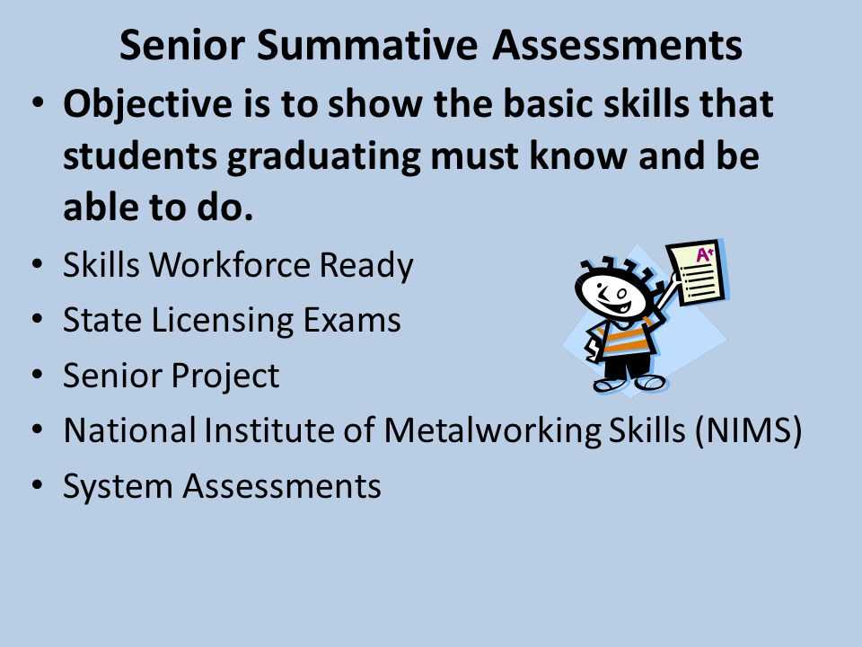Senior Summative Assessments Objective is to show the basic skills that students graduating must know and be able to do.