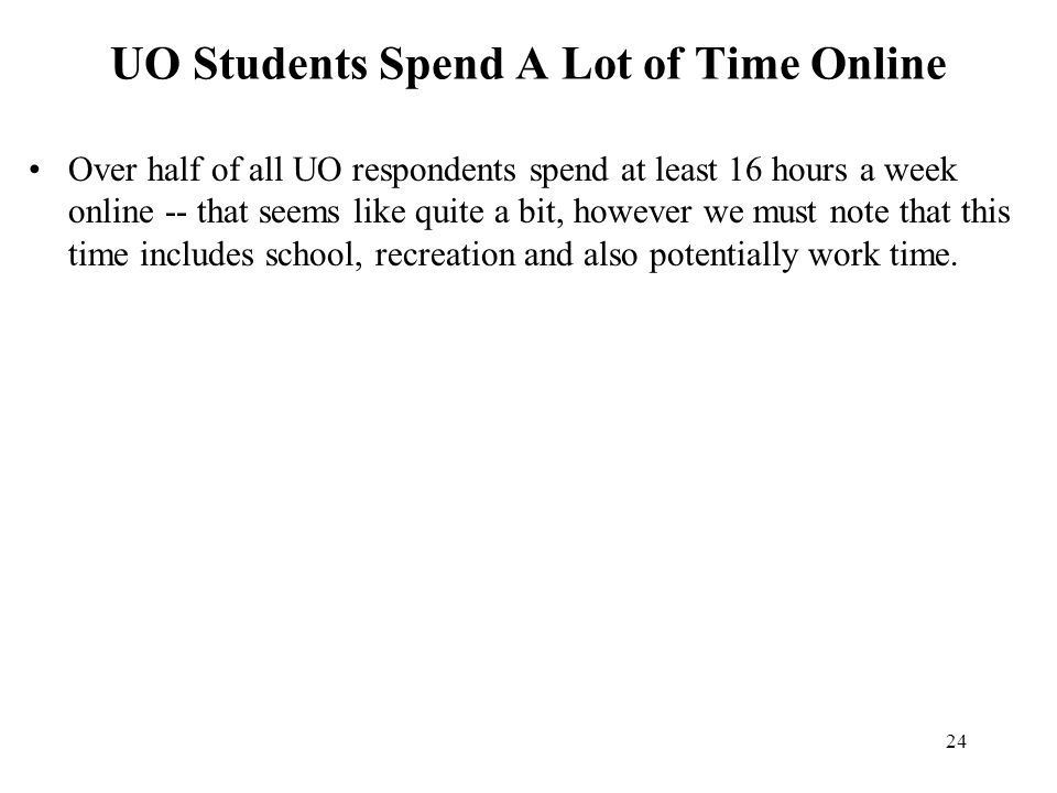 24 UO Students Spend A Lot of Time Online Over half of all UO respondents spend at least 16 hours a week online -- that seems like quite a bit, howeve