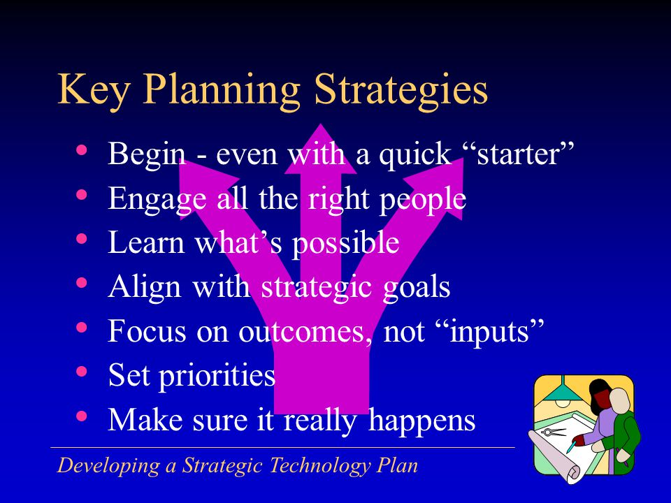 Developing a Strategic Technology Plan Begin - even with a quick starter Engage all the right people Learn whats possible Align with strategic goals Focus on outcomes, not inputs Set priorities Make sure it really happens Key Planning Strategies