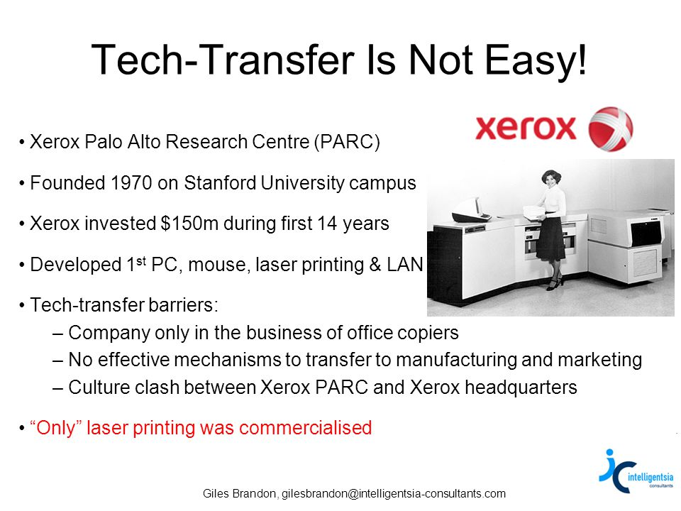 Giles Brandon, gilesbrandon@intelligentsia-consultants.com Why Is Tech-Transfer Important.