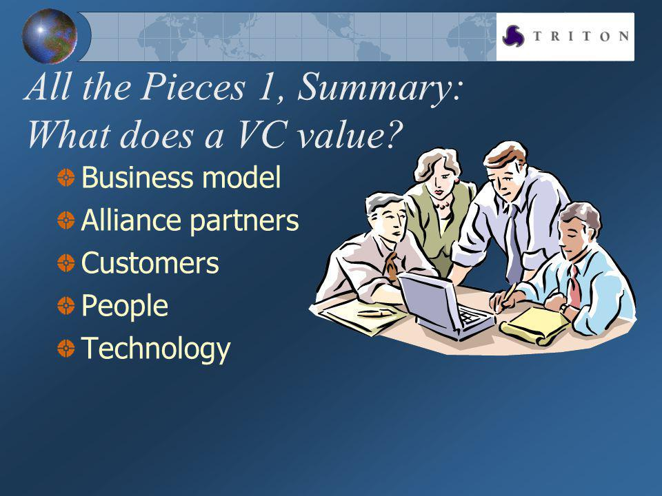 All the Pieces 1, Summary: What does a VC value? Business model Alliance partners Customers People Technology