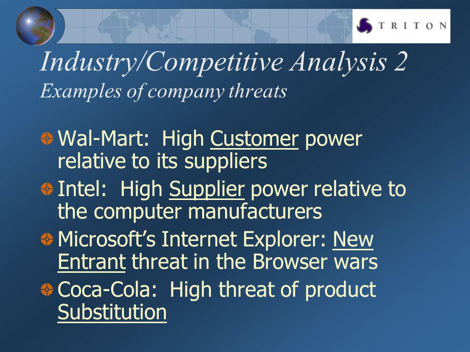 Industry/Competitive Analysis 2 Examples of company threats Wal-Mart: High Customer power relative to its suppliers Intel: High Supplier power relative to the computer manufacturers Microsofts Internet Explorer: New Entrant threat in the Browser wars Coca-Cola: High threat of product Substitution