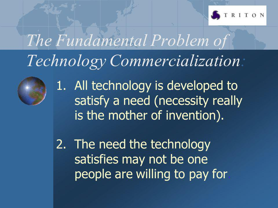 The Fundamental Problem of Technology Commercialization: 1.All technology is developed to satisfy a need (necessity really is the mother of invention).