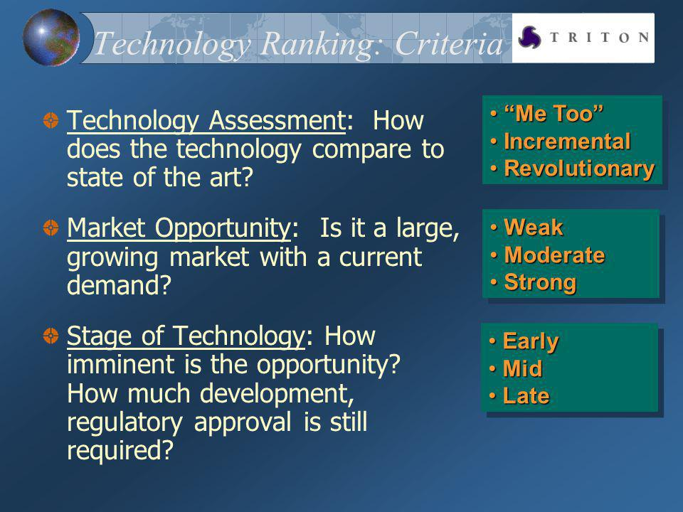 Technology Ranking: Criteria Technology Assessment: How does the technology compare to state of the art? Market Opportunity: Is it a large, growing ma