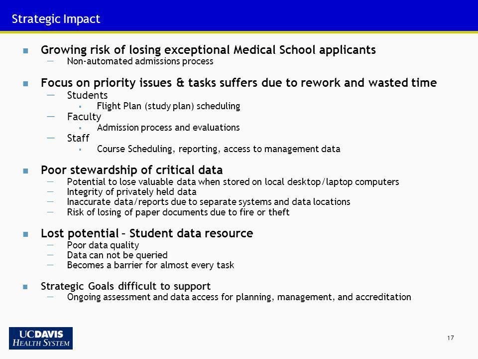 17 Strategic Impact Growing risk of losing exceptional Medical School applicants Non-automated admissions process Focus on priority issues & tasks suf