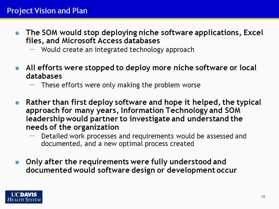19 Project Vision and Plan The SOM would stop deploying niche software applications, Excel files, and Microsoft Access databases Would create an integ