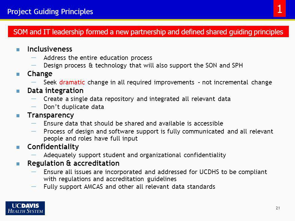 21 Project Guiding Principles Inclusiveness Address the entire education process Design process & technology that will also support the SON and SPH Ch