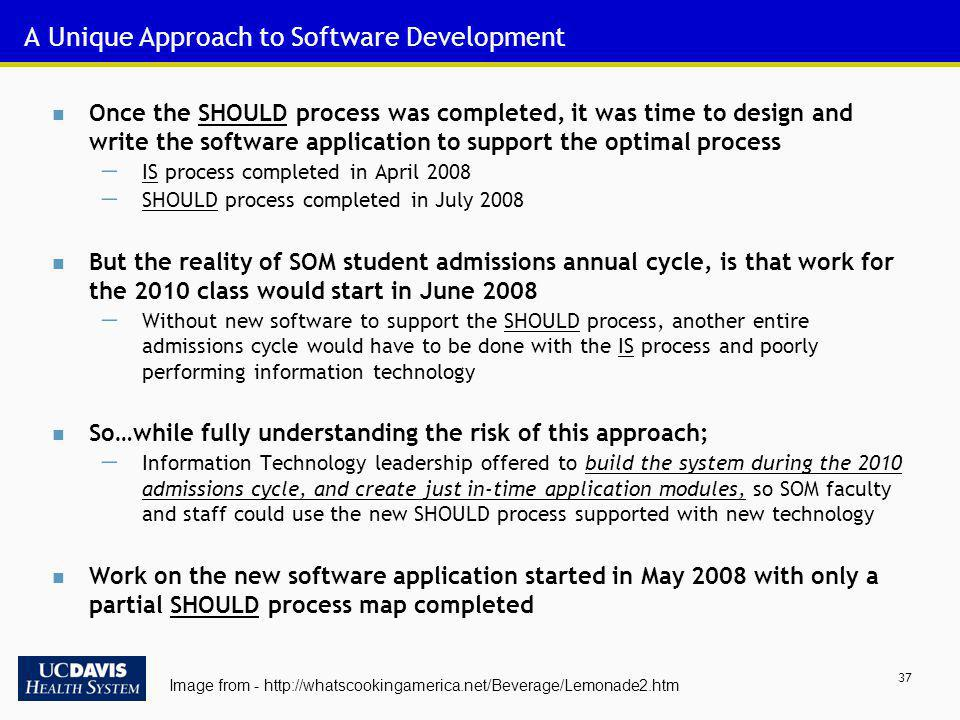 37 A Unique Approach to Software Development Once the SHOULD process was completed, it was time to design and write the software application to suppor