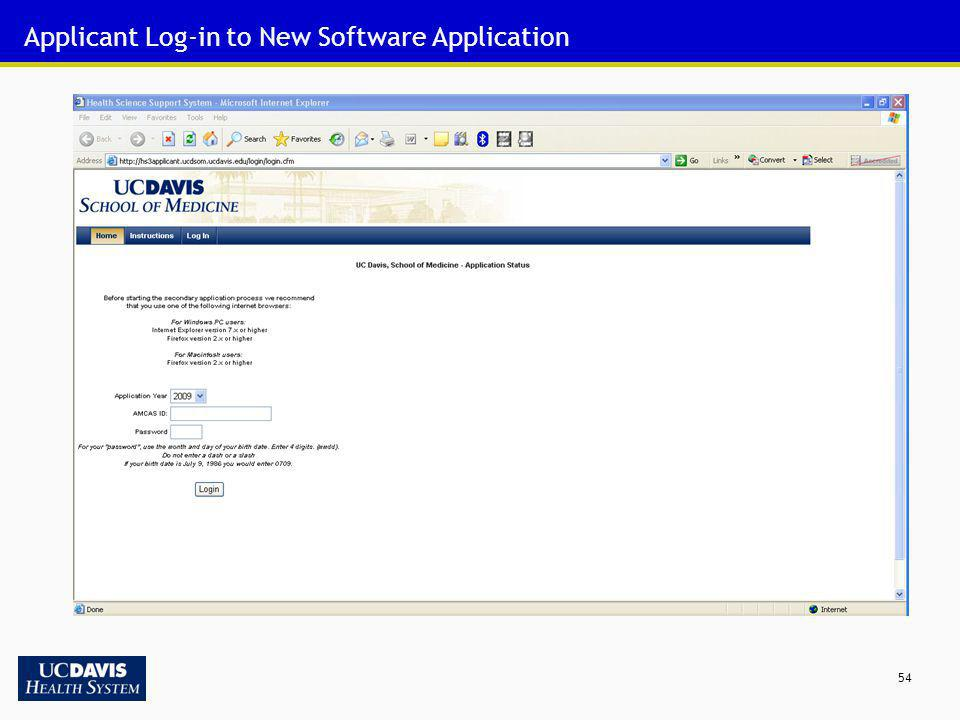 54 Applicant Log-in to New Software Application