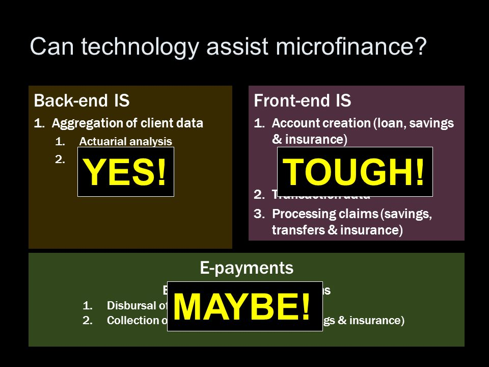 Can technology assist microfinance? Front-end IS 1.Account creation (loan, savings & insurance) 1.Collecting client data 2.Screening/ verification 2.T