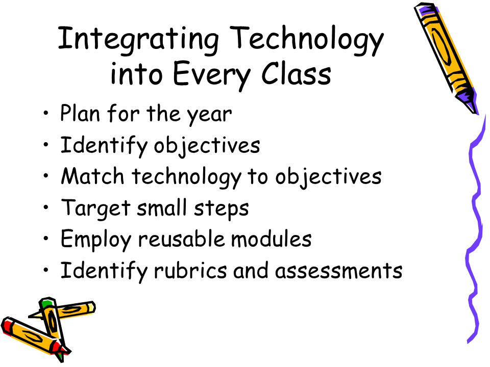 Integrating Technology into Every Class Plan for the year Identify objectives Match technology to objectives Target small steps Employ reusable modules Identify rubrics and assessments