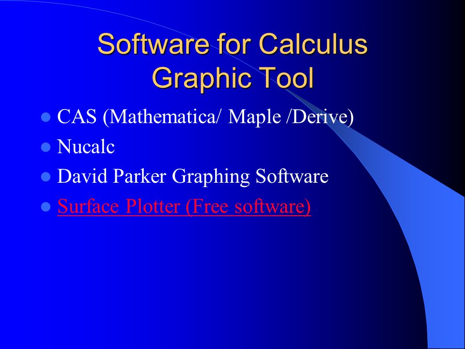 Software for Calculus Computer Algebra System Mathematica Maple & Scientific Notebook Derive