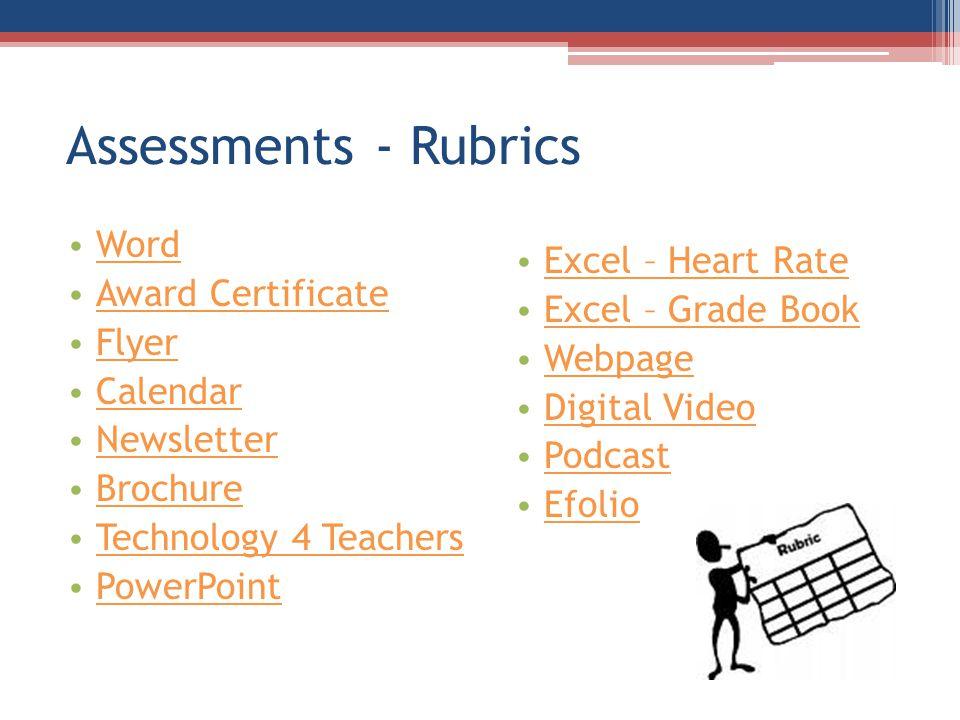 Assessments - Rubrics Word Award Certificate Flyer Calendar Newsletter Brochure Technology 4 Teachers PowerPoint Excel – Heart Rate Excel – Grade Book