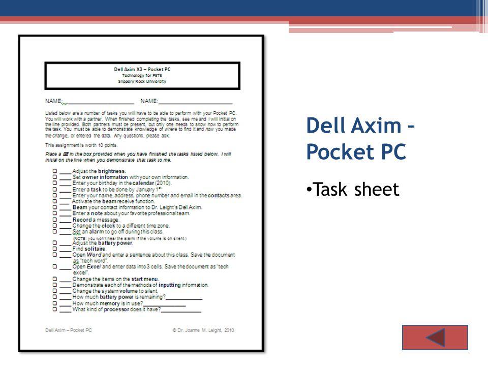 Dell Axim – Pocket PC Task sheet