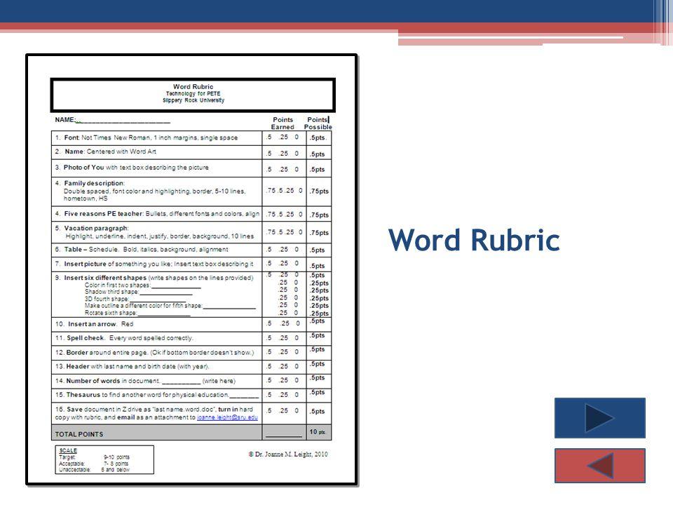 Word Rubric