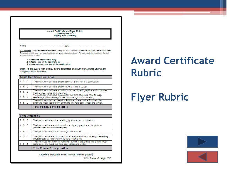 Award Certificate Rubric Flyer Rubric