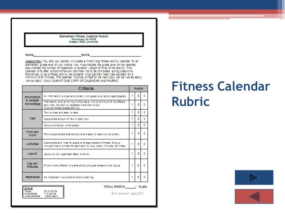 Fitness Calendar Rubric