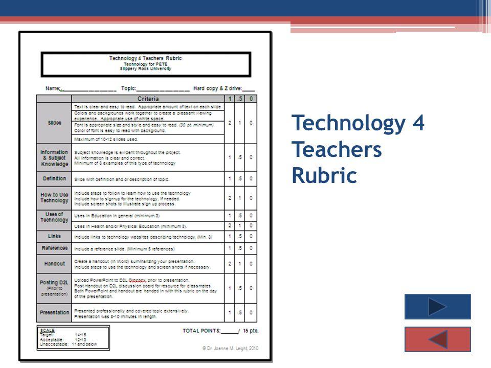 Technology 4 Teachers Rubric