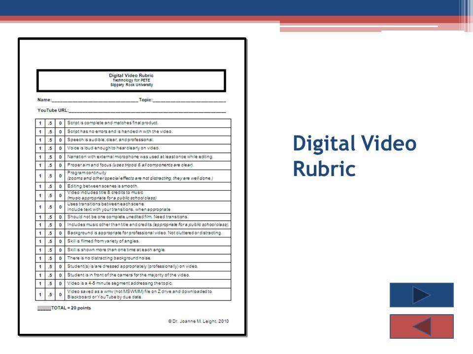 Digital Video Rubric