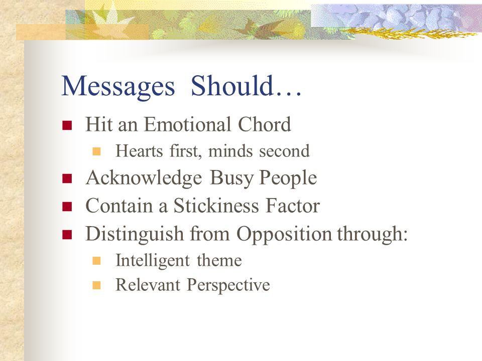 Messages Should… Hit an Emotional Chord Hearts first, minds second Acknowledge Busy People Contain a Stickiness Factor Distinguish from Opposition through: Intelligent theme Relevant Perspective