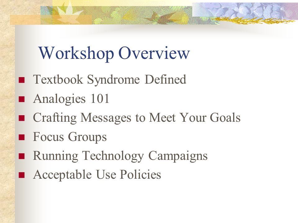 Workshop Overview Textbook Syndrome Defined Analogies 101 Crafting Messages to Meet Your Goals Focus Groups Running Technology Campaigns Acceptable Use Policies