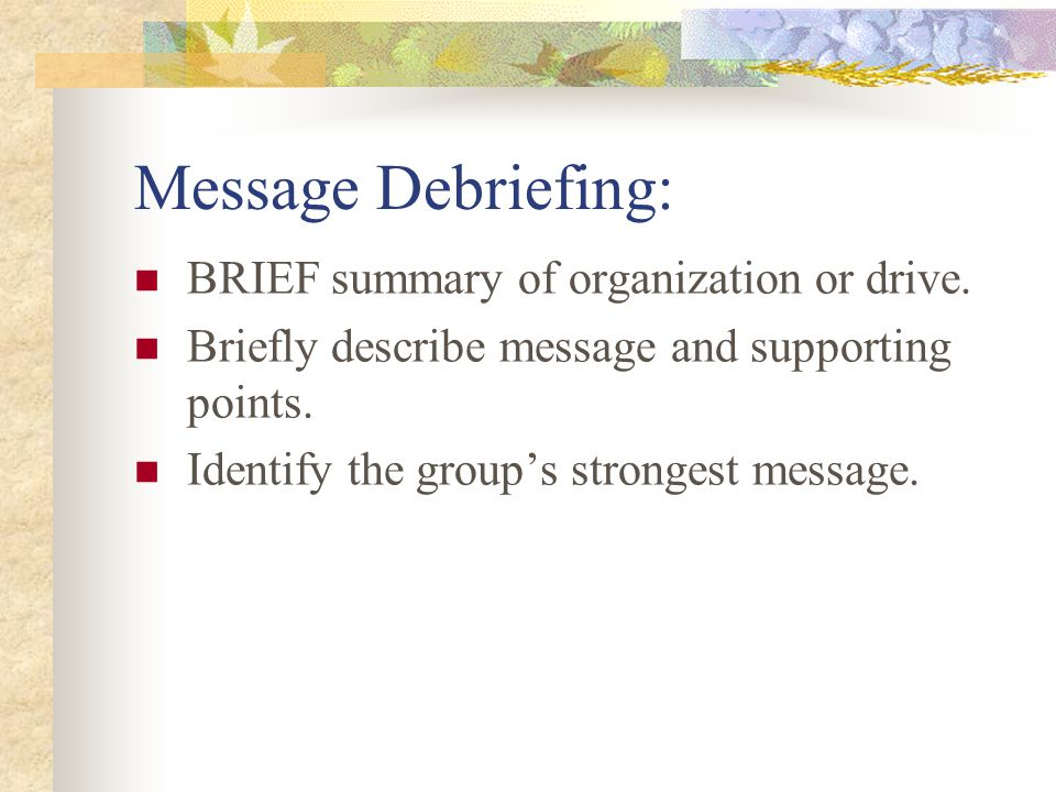 Message Debriefing: BRIEF summary of organization or drive.