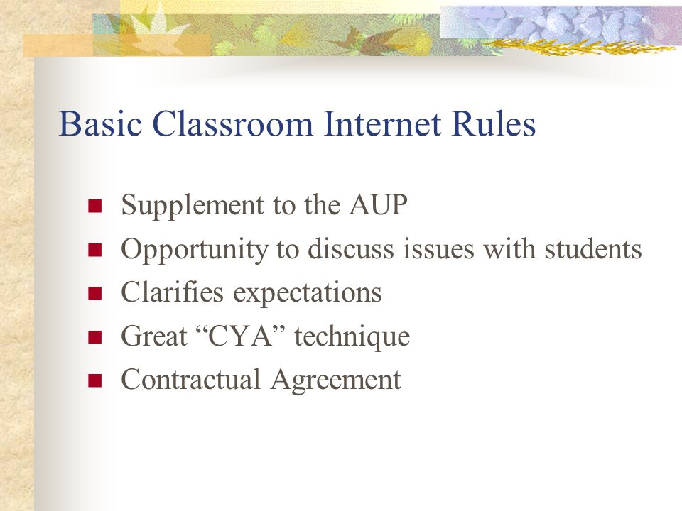 Basic Classroom Internet Rules Supplement to the AUP Opportunity to discuss issues with students Clarifies expectations Great CYA technique Contractual Agreement
