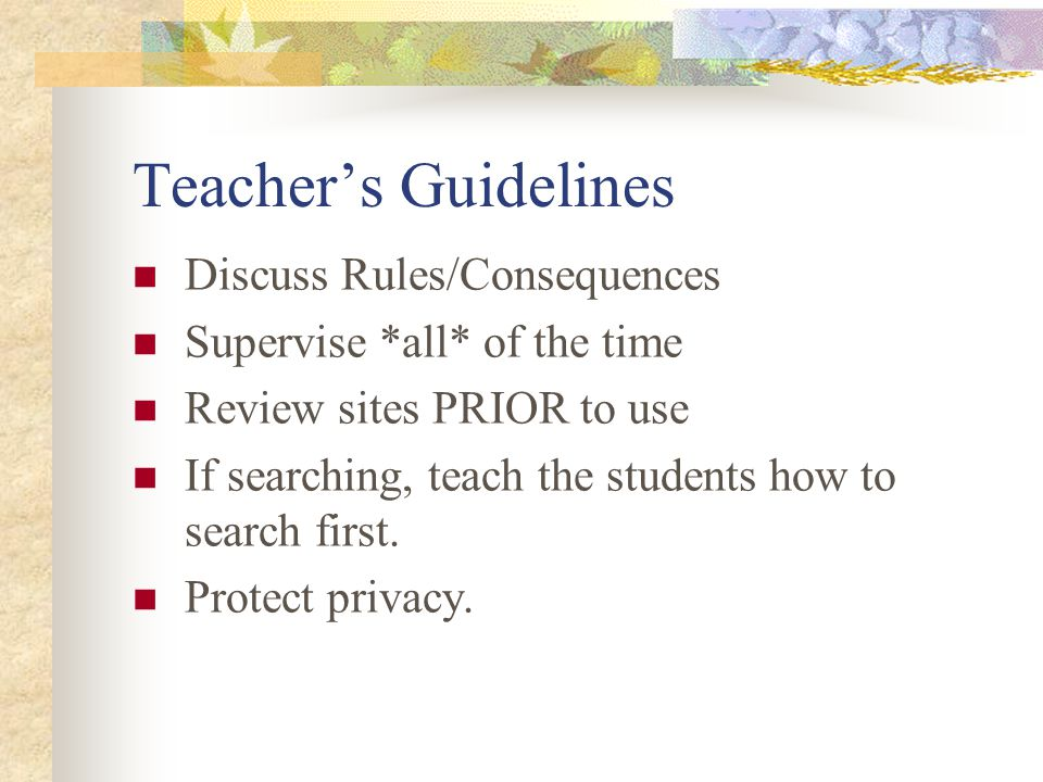 Teachers Guidelines Discuss Rules/Consequences Supervise *all* of the time Review sites PRIOR to use If searching, teach the students how to search first.