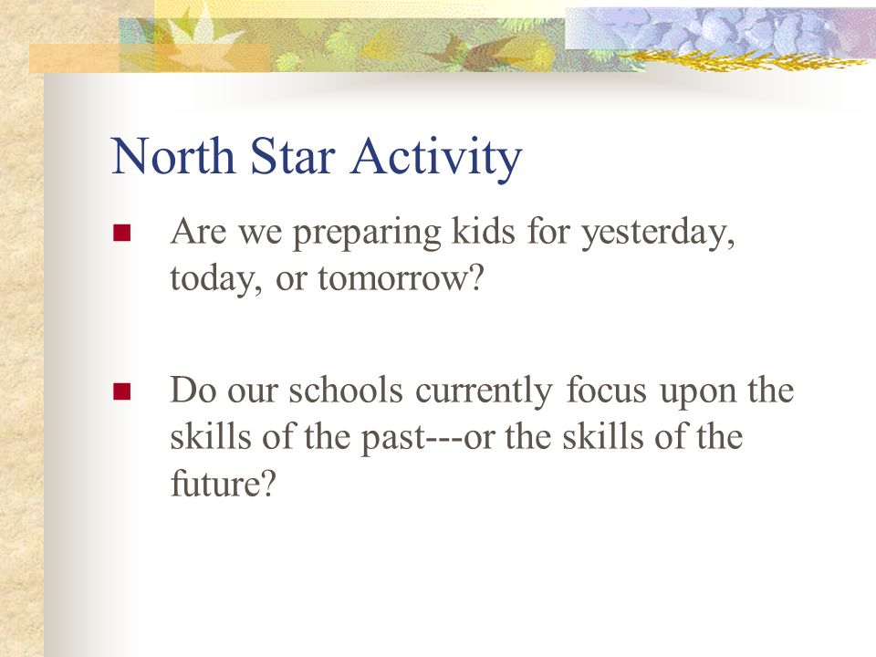 North Star Activity Are we preparing kids for yesterday, today, or tomorrow.