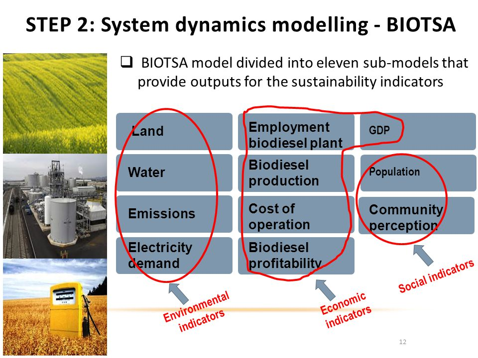 STEP 2: System dynamics modelling - BIOTSA 12 BIOTSA model divided into eleven sub-models that provide outputs for the sustainability indicators Land Water Emissions Electricity demand Employment biodiesel plant Biodiesel profitability Cost of operation GDP Community perception Biodiesel production Population Environmental indicators Economic indicators Social indicators