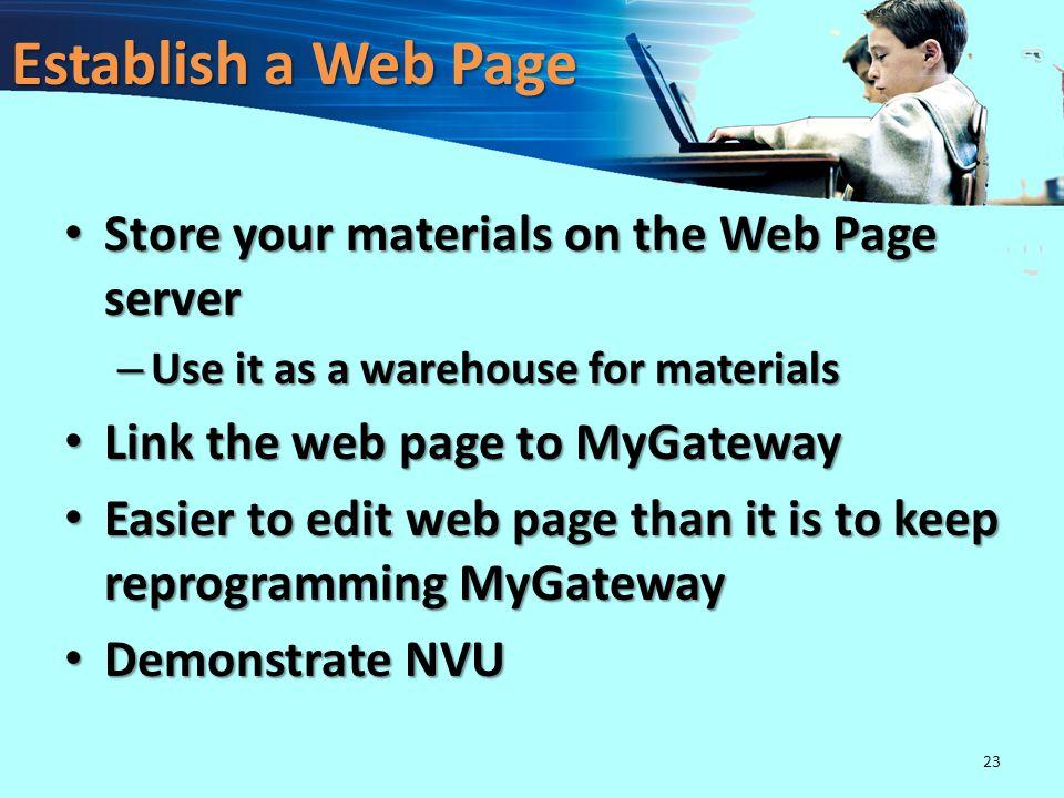 Link PPT to the Internet http://www.umsl.edu/~naumannj http://mygateway.umsl.edu http://volcano.und.nodak.edu/ 22