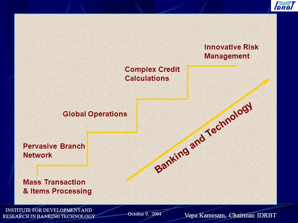 INSTITUTE FOR DEVELOPMENT AND RESEARCH IN BANKING TECHNOLOGY October 9, 2004 Vepa Kamesam, Chairman IDRBT Pervasive Branch Network Global Operations C