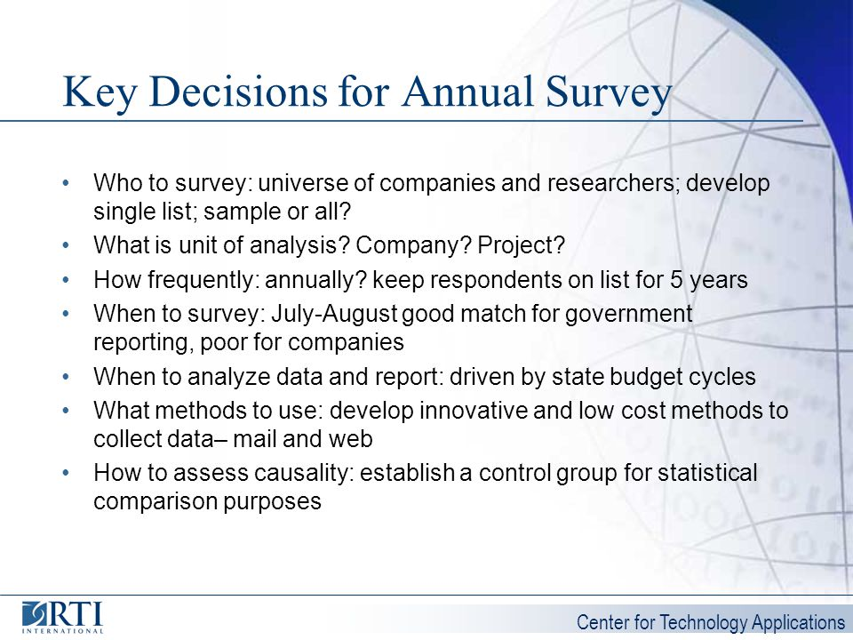 Center for Technology Applications Key Decisions for Annual Survey Who to survey: universe of companies and researchers; develop single list; sample o