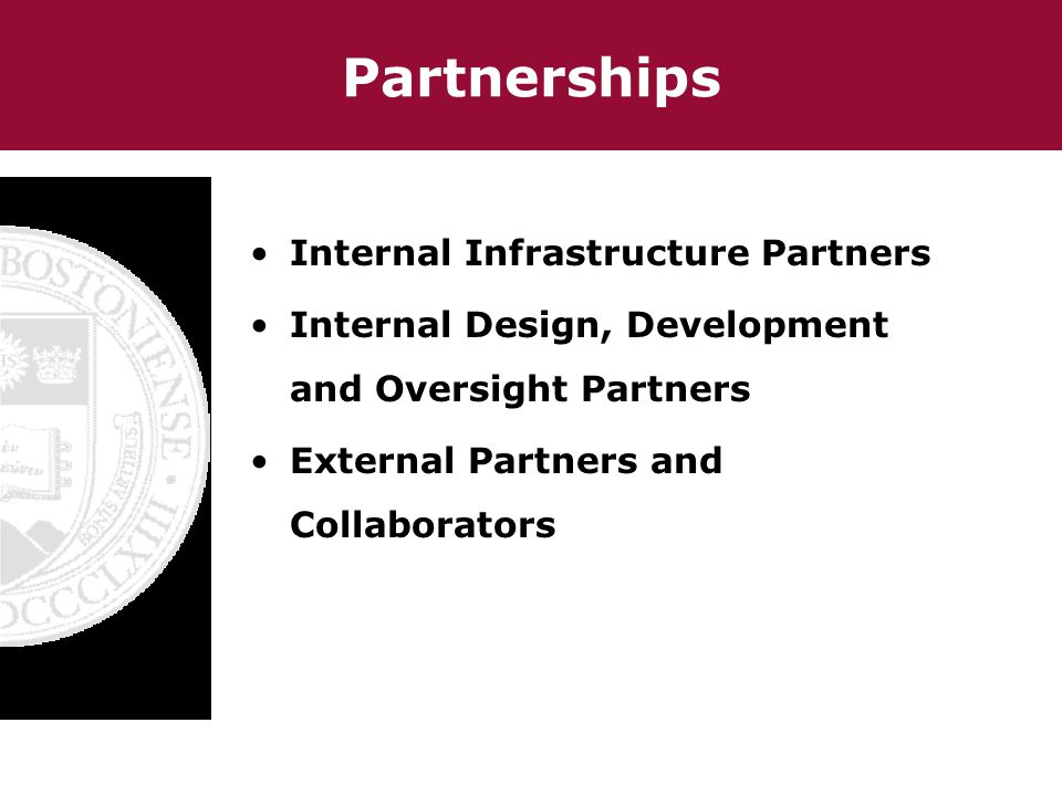 Partnerships Internal Infrastructure Partners Internal Design, Development and Oversight Partners External Partners and Collaborators