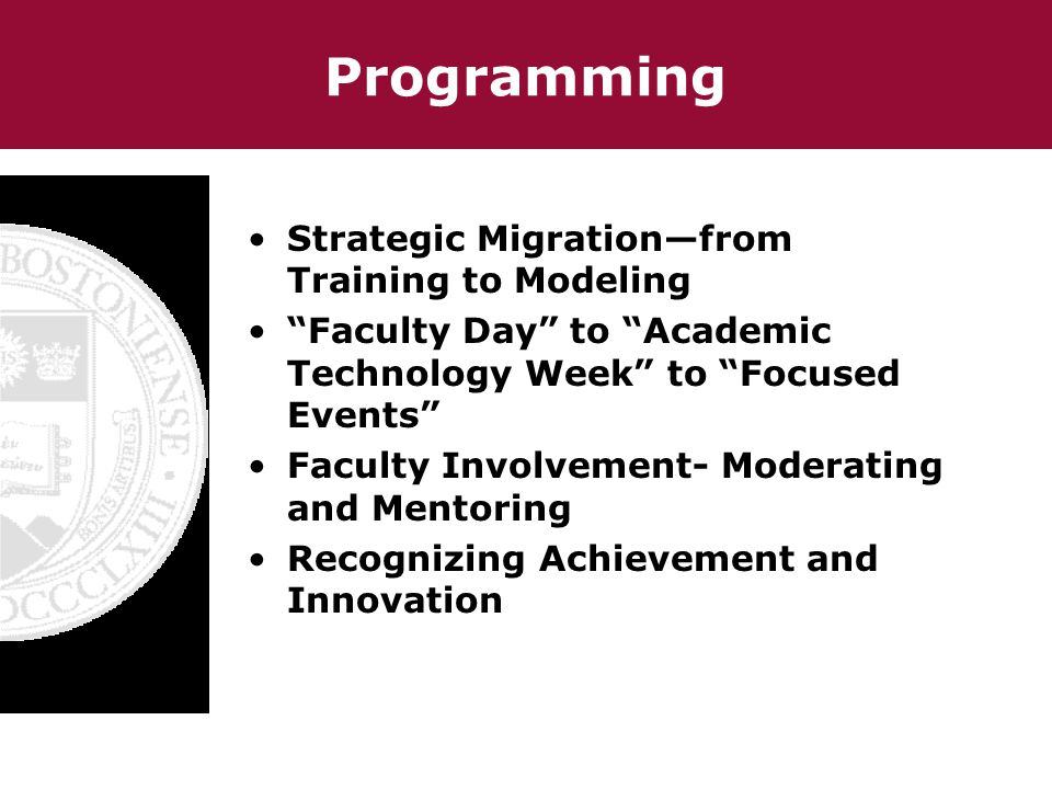 Programming Strategic Migrationfrom Training to Modeling Faculty Day to Academic Technology Week to Focused Events Faculty Involvement- Moderating and Mentoring Recognizing Achievement and Innovation