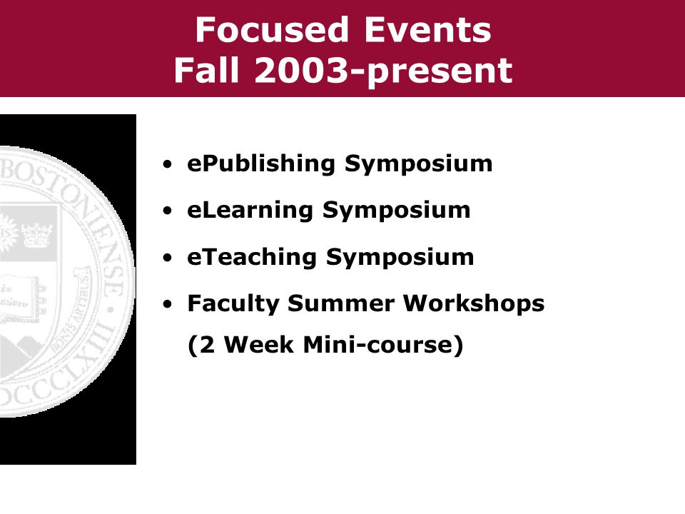 Focused Events Fall 2003-present ePublishing Symposium eLearning Symposium eTeaching Symposium Faculty Summer Workshops (2 Week Mini-course)