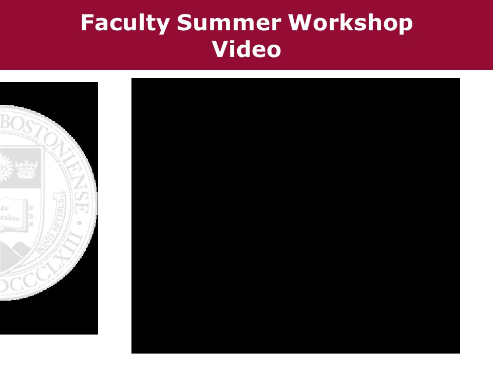 Faculty Summer Workshop Video